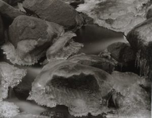 Bridal Veil Ice, Morning. Yosemite National Park. 8x10 Carbon Transfer Print.